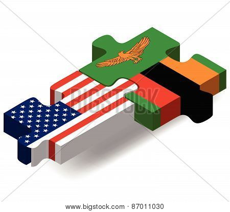 Usa And Vietnam Flags In Puzzle