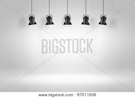 Gallery Interior with three black lamps. Vector illustration
