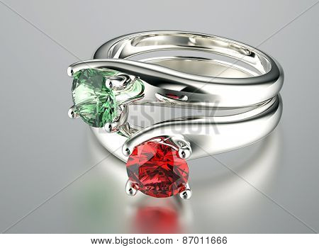Ring with gemstone. Jewelry background.