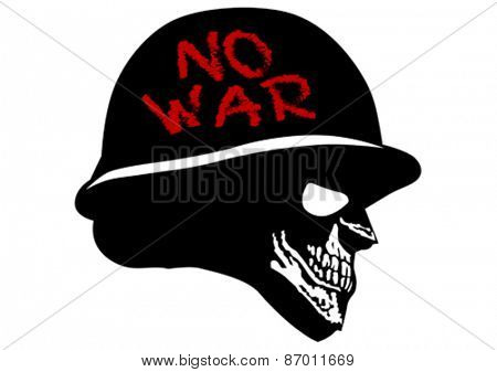 Silhouette of a skull in the military helmet on a white background