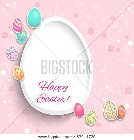 Holiday easter card with decorative painted eggs.