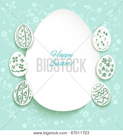 Festive easter card with decorative eggs on pastel background.Place for text.