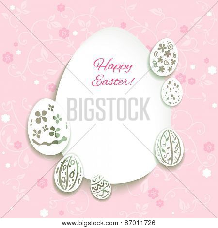 Easter card on pink background with place for text.