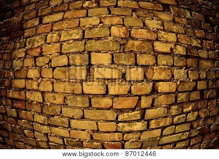 Convex brick wall