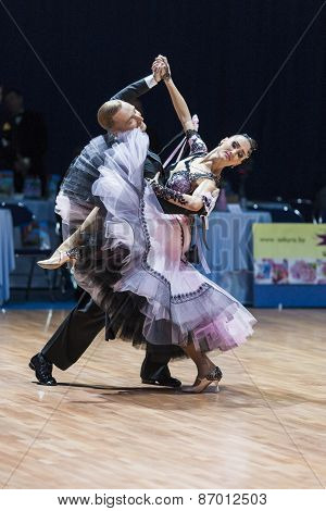 Minsk, Belarus-february 15, 2015: Dance Couple Of Parfyonov Denis And Sopit Tetiana From Ukraine Per