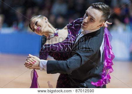 Minsk, Belarus-february 15, 2015: Dance Couple Of Saraponovschi Cristian And Checshin Tatiana From R