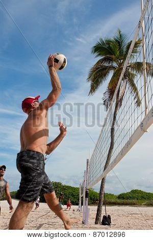 Man Spikes Ball In Pickup Miami Beach Volleyball Game
