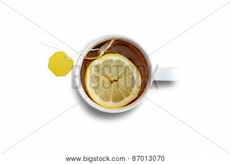 Mug Of Fresh Black Tea With Lemon