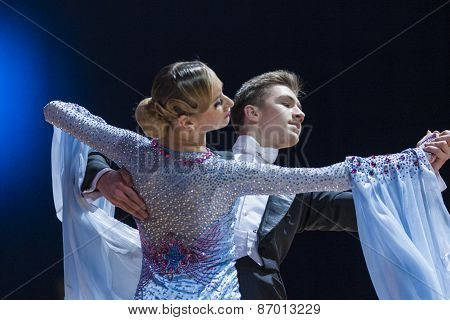 Minsk, Belarus-february 15, 2015: Unidentified Professional Dance Couple Performs Youth-2 Standard P