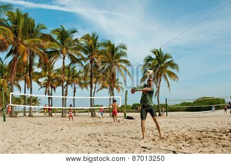 People Play Pickup Games Of Beach Volleyball In Miami