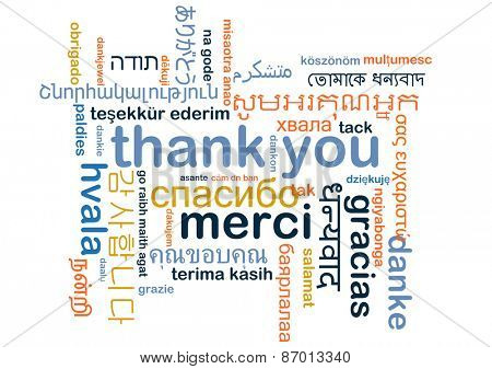 Background concept word cloud multi-language international many language illustration of thank you