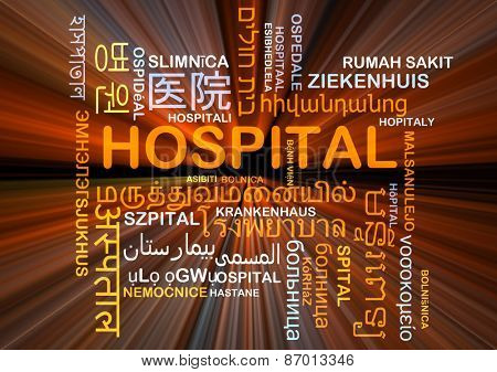 Background concept word cloud mult-ilanguage international many language illustration of hospital glowing light
