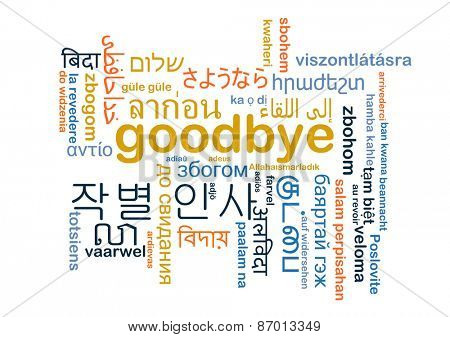 Background concept word cloud multi-language international many language illustration of goodbye