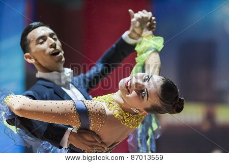Minsk, Belarus-february 15, 2015: Khuzhaiarov Max And Nirkova Anastasia From Lithuania Performs Adul