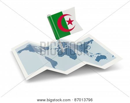 Map With Flag Of Algeria