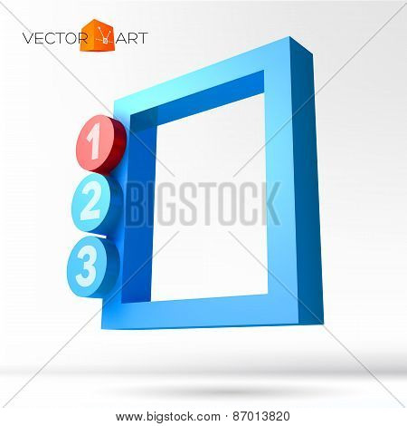 Infographic 3D frame with numbered options