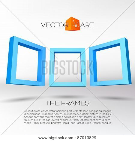 Three blue rectangular 3D frames
