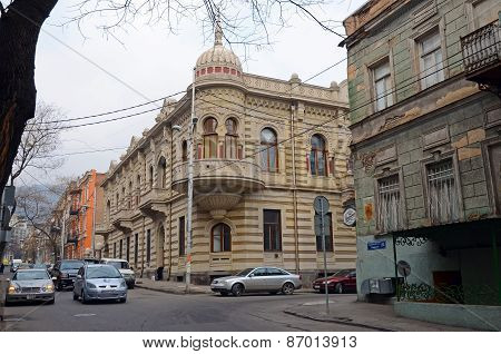 Tbilisi,GE-Feb,26 2015:A two-storey house in the pseudo-Moresque style on the street Lado Asatiani