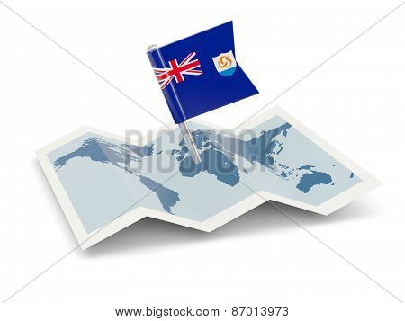 Map With Flag Of Anguilla