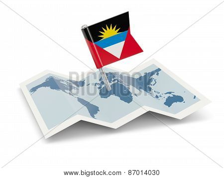 Map With Flag Of Antigua And Barbuda