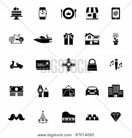Birthday Gift Icons On White Background