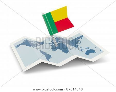 Map With Flag Of Benin