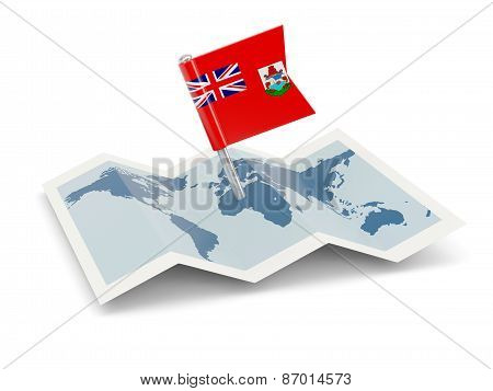 Map With Flag Of Bermuda