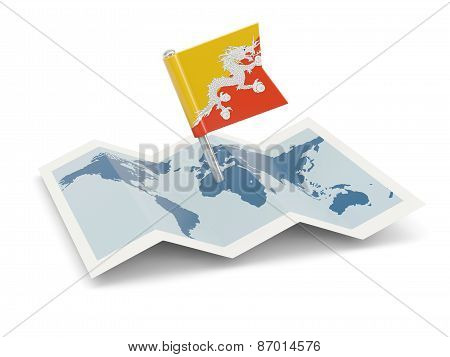 Map With Flag Of Bhutan