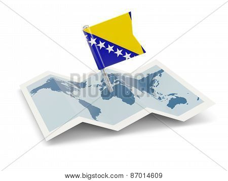 Map With Flag Of Bosnia And Herzegovina