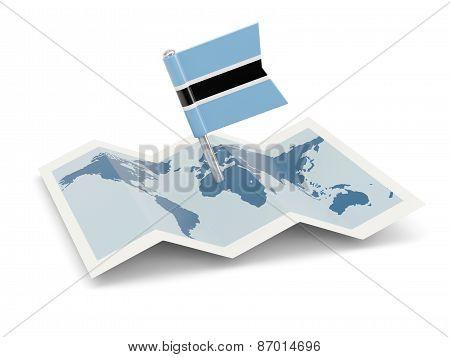 Map With Flag Of Botswana