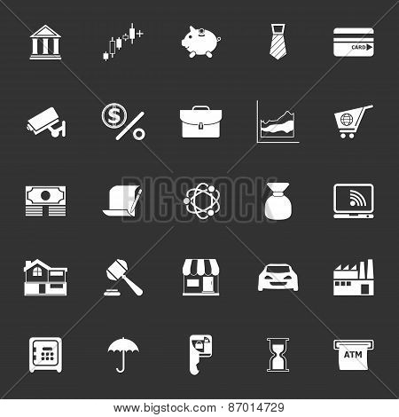 Banking And Financial Icons On Gray Background