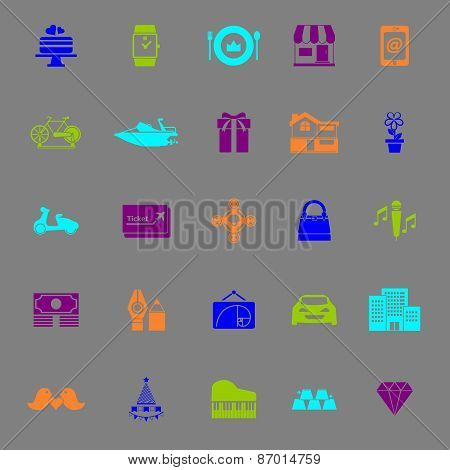 Birthday Gift Color Icons On Gray Background