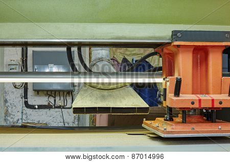 Footwear production. Image of semiautomatic press