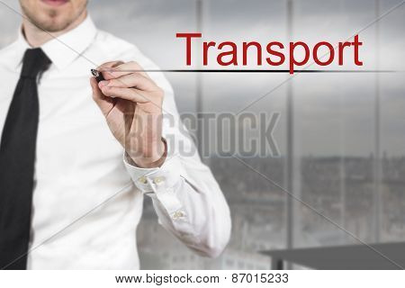 Businessman In Office Writing Transport In The Air