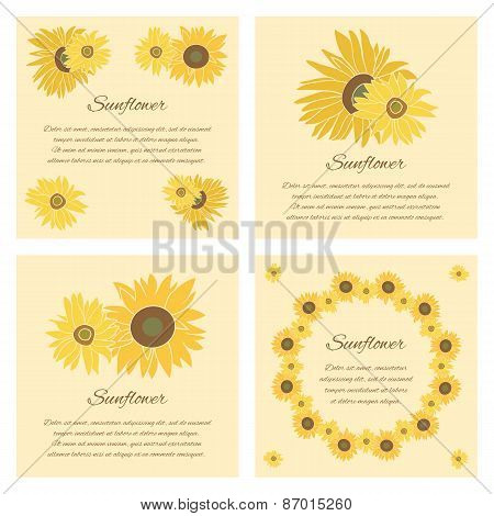 Sunflower Vector Greeting Card Set On The Bright Background