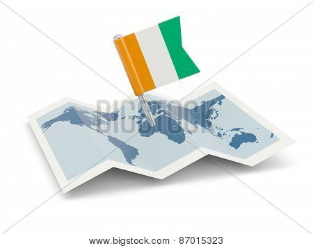 Map With Flag Of Cote D Ivoire