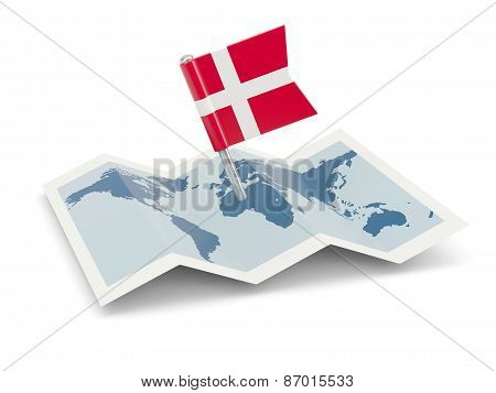 Map With Flag Of Denmark