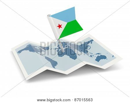 Map With Flag Of Djibouti