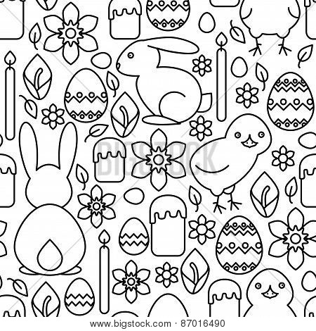 Seamless Pattern Of Easter Symbols Line Art