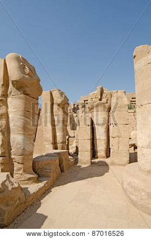 Statues  in the temple of Amun at Karnak, Luxor in Egypt