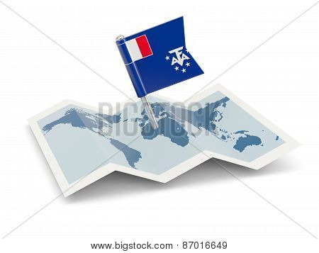 Map With Flag Of French Southern Territories