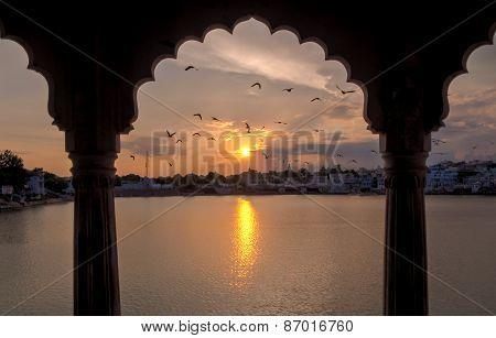 Sunset In Pushkar In A Pavilion
