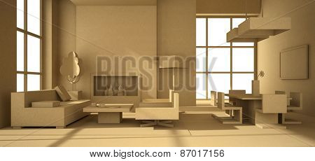 Fictitious interior of paperboard 3D rendering