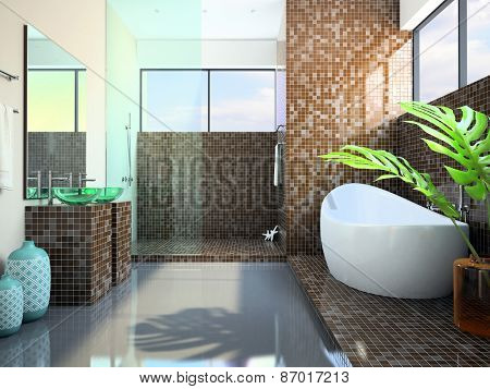 Modern interior of the bathroom 3D rendering