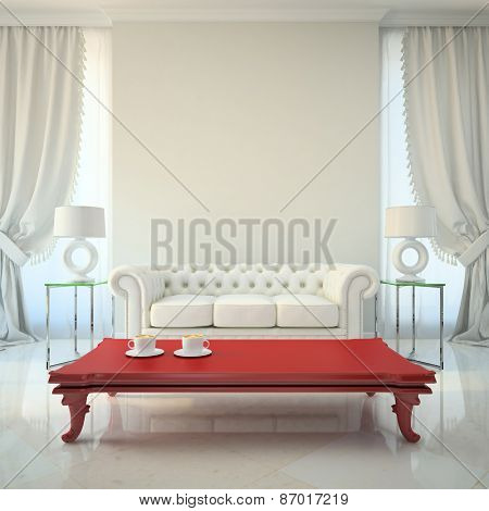 Modern interior with red table 3D rendering