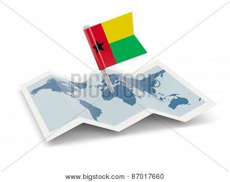 Map With Flag Of Guinea Bissau