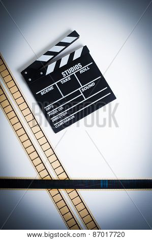 35Mm Movie Filmstrip With Clapper Board, Vintage Color, Vertical