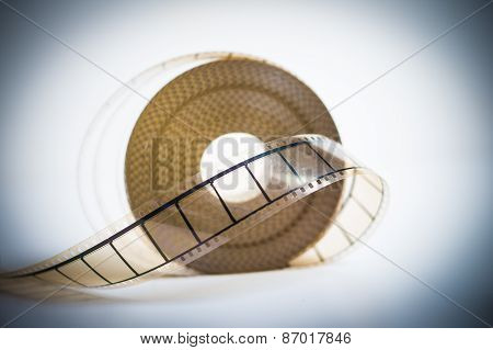 35Mm Movie Reel With Selective Focus On Film Vintage Color Look