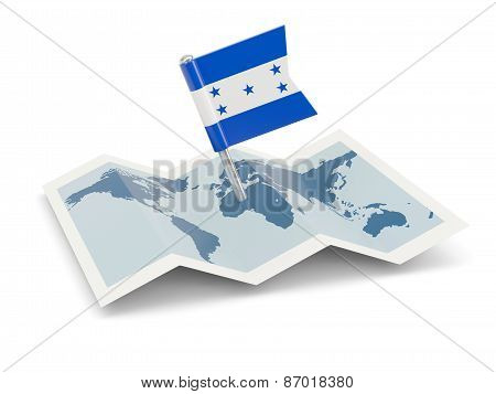Map With Flag Of Honduras