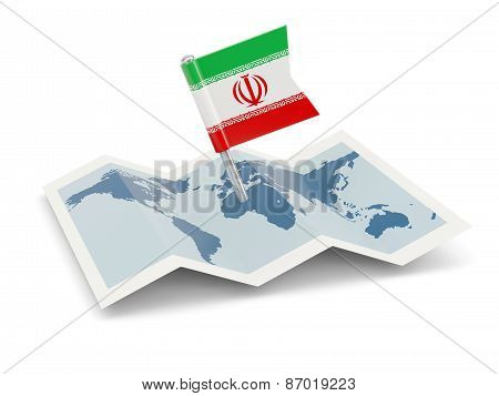 Map With Flag Of Iran